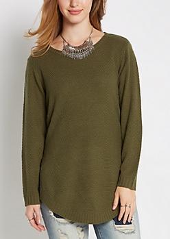 Olive Waffle Knit Shirttail Sweater
