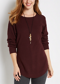 Plum Waffle Knit Shirttail Sweater
