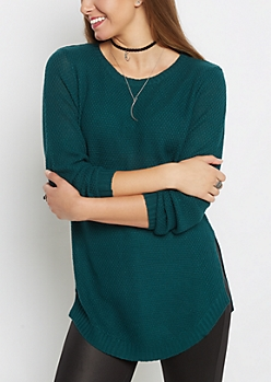 Teal Waffle Knit Shirttail Sweater