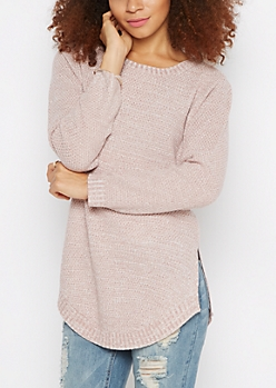 Light Purple Marled Shirttail Sweater