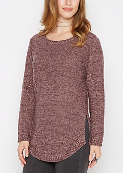 Plum Marled Shirttail Sweater