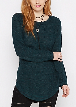Teal Marled Shirttail Sweater