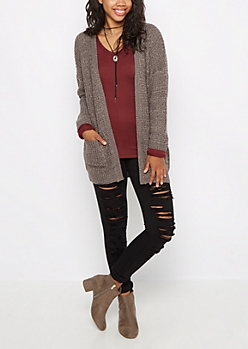 Charcoal Chunky Knit Slouchy Cardigan
