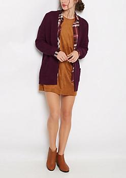 Plum Chunky Knit Slouchy Cardigan