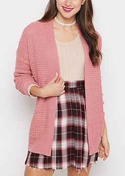 Pink Chunky Knit Slouchy Cardigan