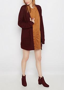 Burgundy Marled Oversized Cardigan