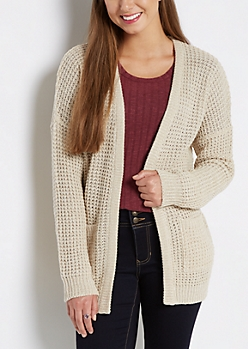 Tan Marled Oversized Cardigan