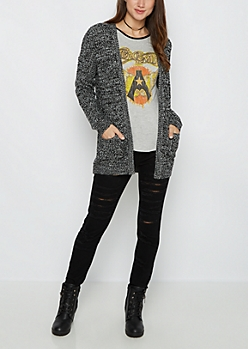 Black Marled Oversized Cardigan