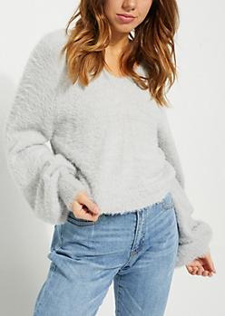 Gray Eyelash Knit Sweater