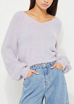 Purple Eyelash Knit Sweater