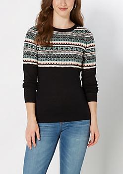 Mint Snowflake Fair Isle Sweater