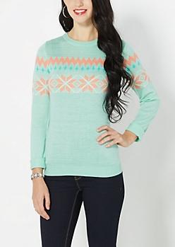 Mint Green Snowflake Fair Isle Sweater