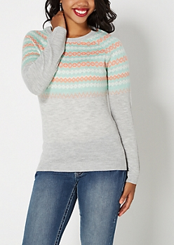 Gray Fair Isle Raglan Sweater