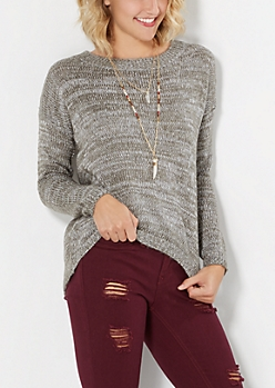 Gray Marled High-Low Sweater