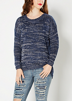 Navy Marled High-Low Sweater