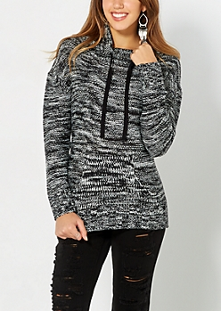 Marled Black Knit Funnel Sweater