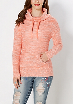 Marled Peach Knit Funnel Sweater