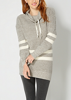 Marled Gray Varsity Funnel Neck Sweater