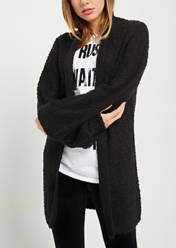 Black Boucle Open Front Cardigan