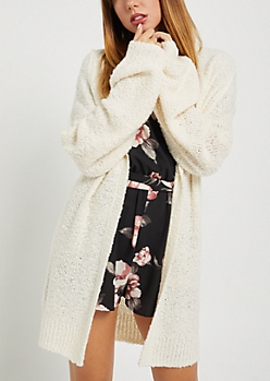 Ivory Boucle Open Front Cardigan