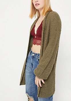 Olive Boucle Open Front Cardigan