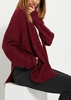 Burgundy Soft Knit Cardigan