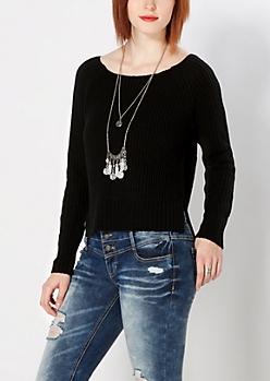 Black Split Hem Skimmer Sweater
