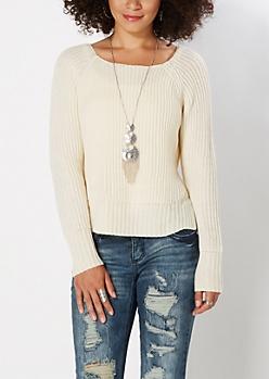 Ivory Split Hem Skimmer Sweater