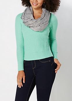 Light Green Split Hem Skimmer Sweater