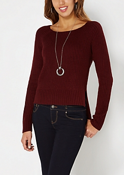 Burgundy Split Hem Skimmer Sweater