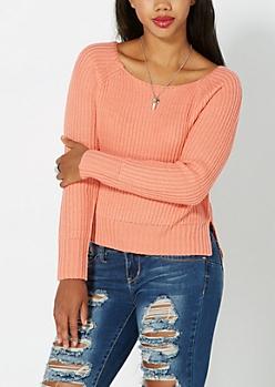 Peach Split Hem Skimmer Sweater