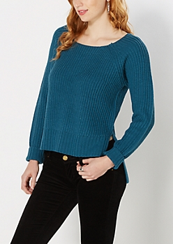 Teal Split Hem Skimmer Sweater