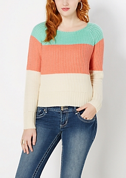 Coral Wide Striped Skimmer Sweater
