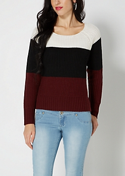Burgundy Wide Striped Skimmer Sweater