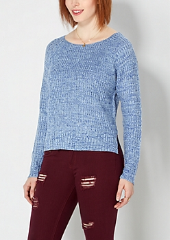 Marled Blue Thick Knit Sweater