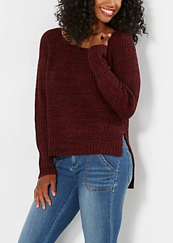 Marled Burgundy Thick Knit Sweater