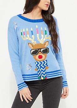 Blue Hanukkah Light-Up Reindeer Knit Sweater