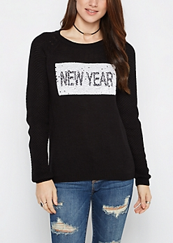 Black Xmas Brushed Sequin Sweater