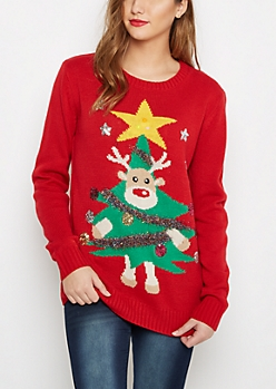 Red Light Up Reindeer Tree Ugly Christmas Sweater
