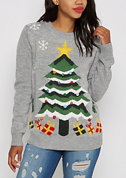 Gray Christmas Tree Musical Sweater