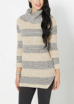 Tan Chunky Knit Tunic Sweater