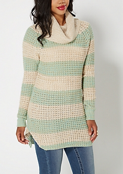 Mint Striped Cowl Tunic Sweater