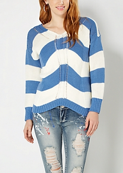 Navy Striped Open-Knit Sweater