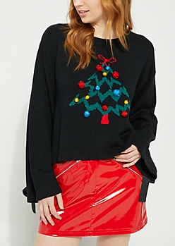 Black Christmas Tree Pom Pom Sweater