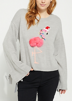 Gray Christmas Flamingo Pom Pom Sweater