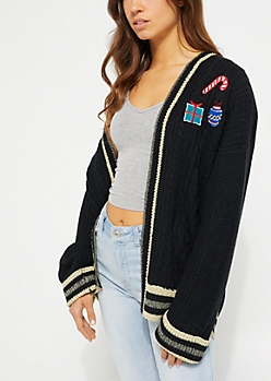 Black Holiday Patch Knit Cardigan
