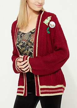 Burgundy Holiday Patch Knit Cardigan