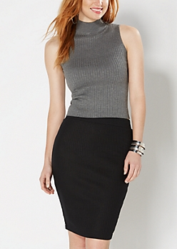 Charcoal Grey Mock Neck Cropped Top