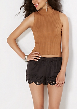 Taupe Mock Neck Cropped Top