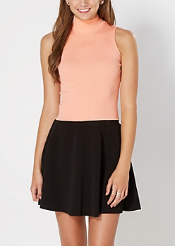 Peach Mock Neck Cropped Top